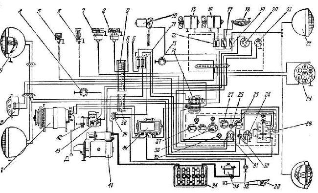 Принципиальная схема электрооборудования трактора Т-150