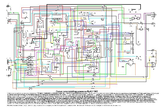 Цветная схема электрооборудования ЛуАЗ-1302