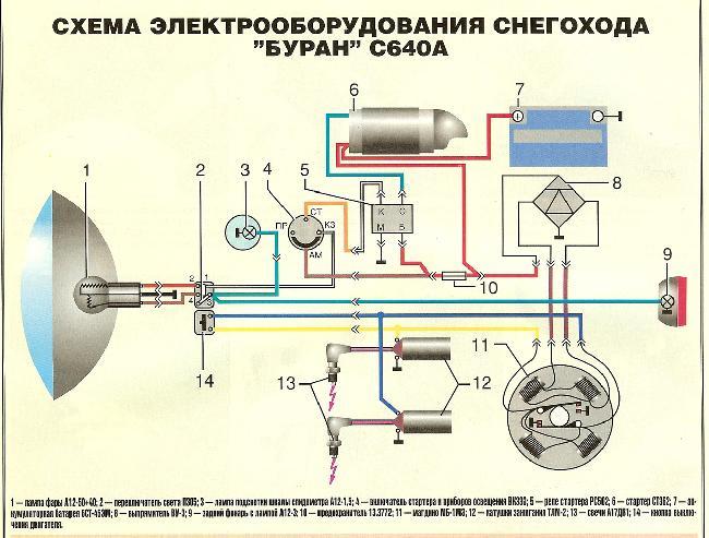 Схема электрооборудования снегохода Буран С640А