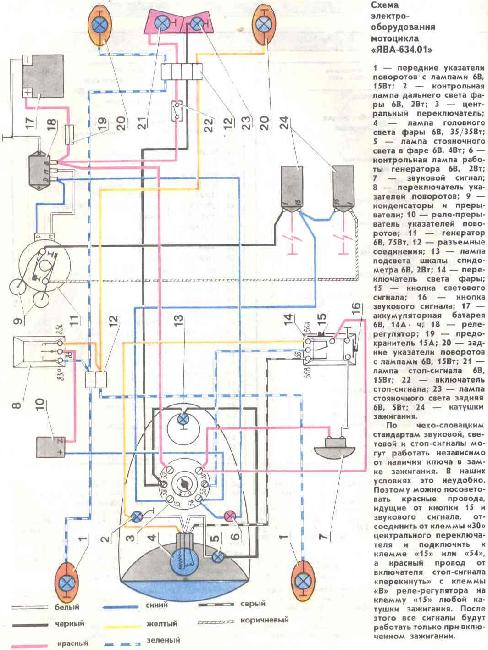 Схема электрооборудования мотоциклов Ява 634.01