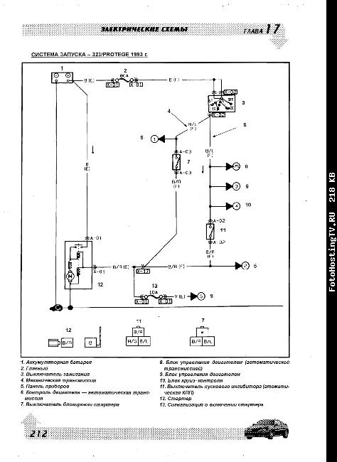 Схемы электрооборудования Mazda 323, 626, Miata, MX-3, MX-6, Protege с 1990г.