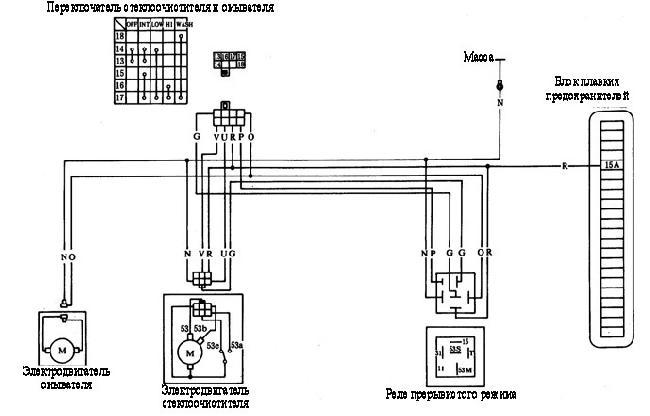 Схема электрических соединений стеклоочистителя и омывателя Yuejin NJ1080