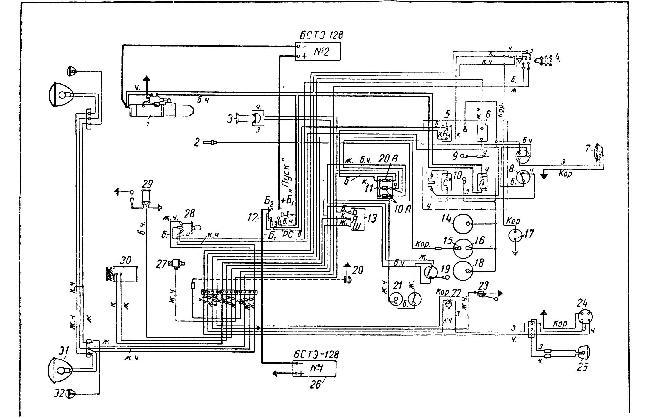 Схема электрооборудования автомобиля ЯАЗ 200