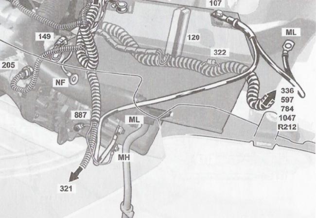 """Расположение клемм """"массы"""" элементов электрооборудования автомобиля Lada Largus"""