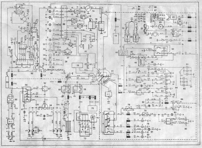 Принципиальная электрическая схема Fiat Croma, Lancia Thema, Alfa Romeo 164 с дизельными двигателями 8144