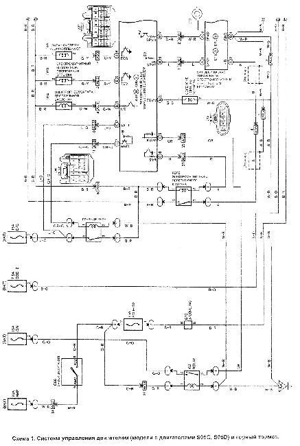 Схема системы управления двигателем Hino S05C и Hino S05D