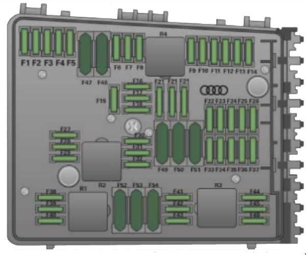 Назначение предохранителей Audi TT второе поколение 8J (2007)