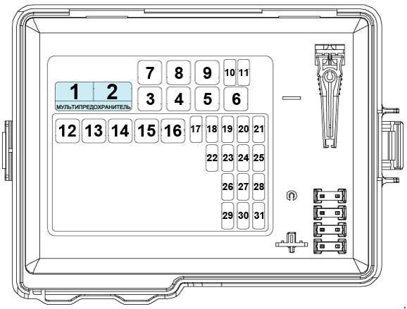 Схема предохранителей и реле Kia Rio 3 с 2011 (1.2, 1.4, 1.6, 1.1 TCI-U2, 1.4 TCI-U2)