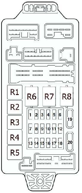Схема предохранителей и реле Mitsubishi Lancer 9