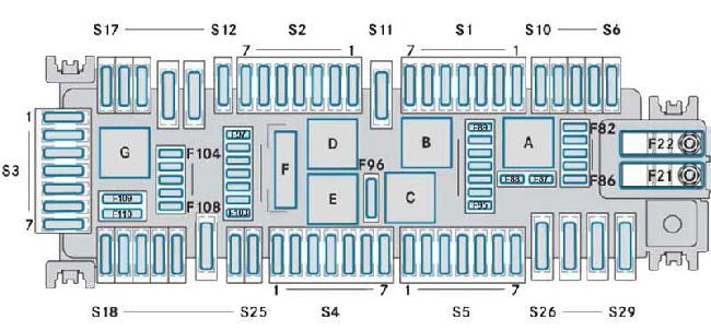 Схема предохранителей Mercedes-Benz W447 (V-Класс / Vito / Metris)