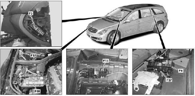 Схема предохранителей и реле Mercedes-Benz W251 (R-Class)