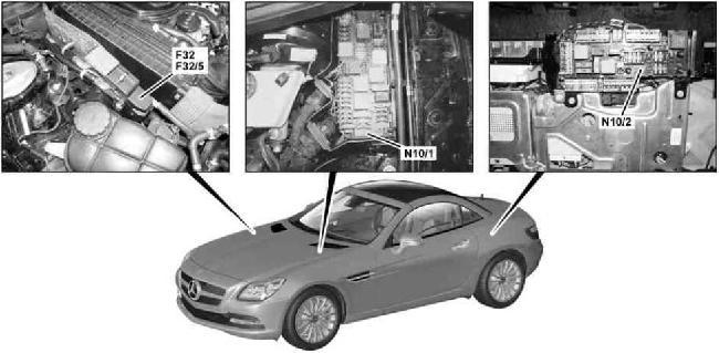 2010-2018 Mercedes-Benz SLK (R172) Fuse Box Diagram