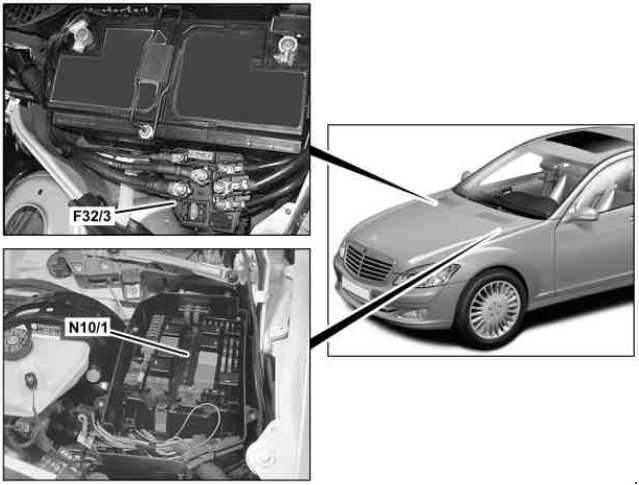 Схема предохранителей и реле Mercedes W221 / C216 (рестайлинг; 2009-2013)