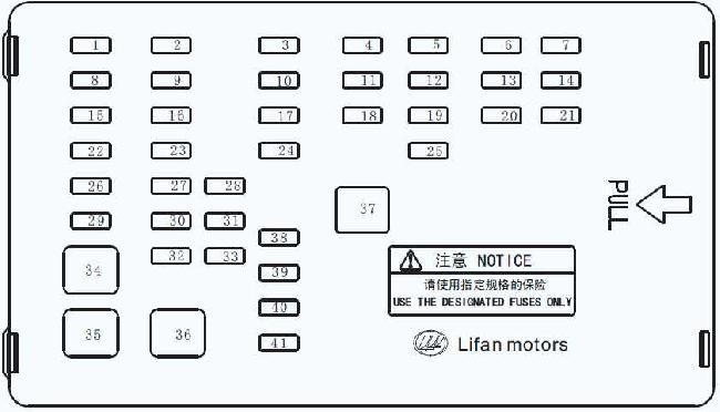 Схема предохранителей и реле Lifan Solano (620)