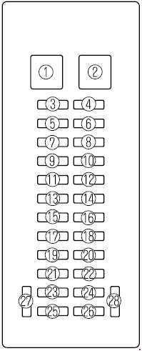 Схема предохранителей Mazda MPV (LW; 1999–2006)