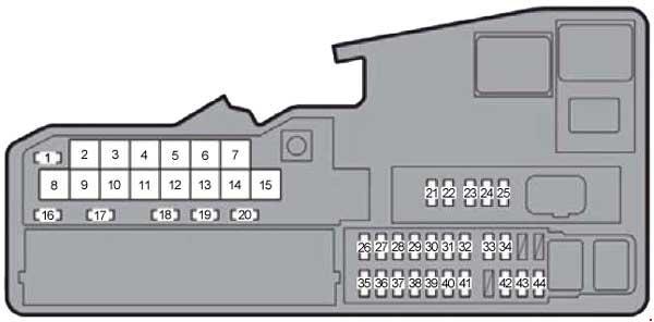 Схема предохранителей Lexus ES 250, ES 300h, ES 350 (2012-2015)