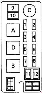 1993 toyota hilux, t100, pickup fuse box diagram