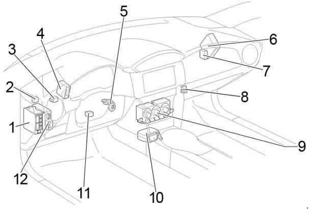 Схема предохранителей и реле Toyota GT86 (2012-2018)