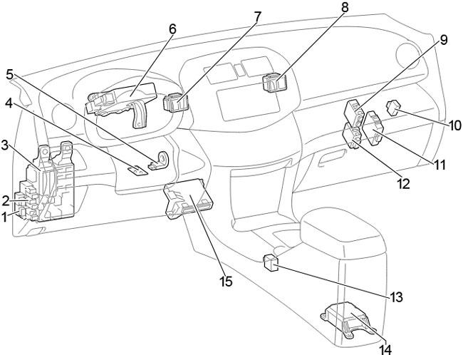 Схема предохранителей и реле Toyota RAV4 (2005-2012; XA30)
