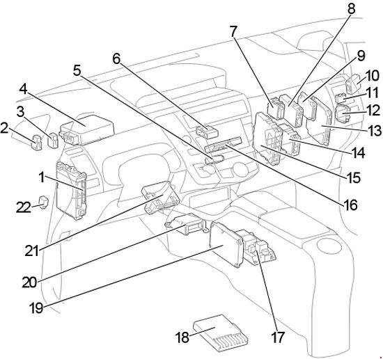 2011-2018 Toyota Prius v and Prius+ (ZVW40) Fuse Box Diagram