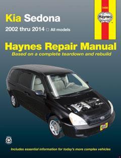kia sedona (02-14) haynes repair manual � fuse box