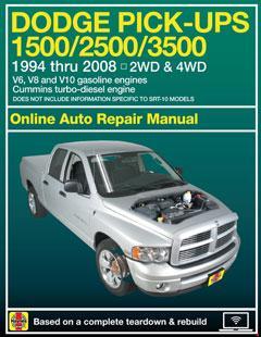 Dodge Ram 1500 & 2500/3500 with V6, V8 & V10 Gas & Cummins turbo-diesel, 2WD & 4WD Haynes Online Manua