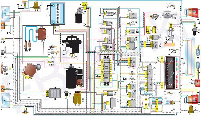 Схема электрооборудования ВАЗ 1111 / 11113 Ока