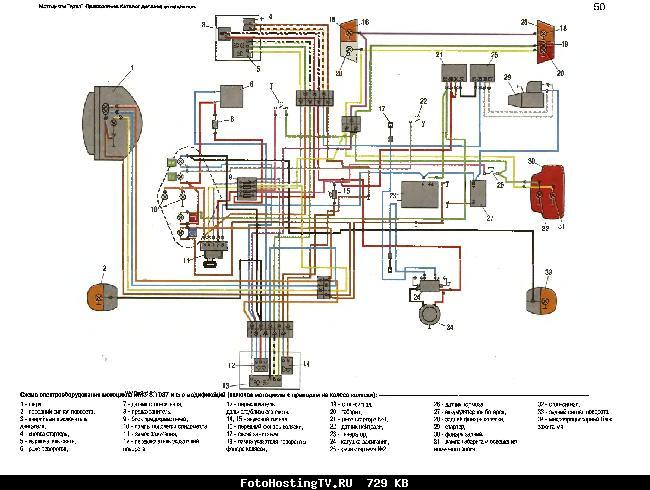 Схема электрооборудования мотоцикла ИМЗ-8.1037 и его мод. (включая мотоциклы с приводом на колесо коляски)
