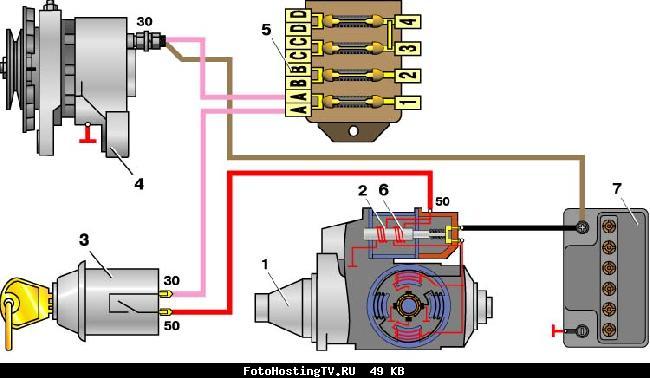 Схема соединений стартера ВАЗ