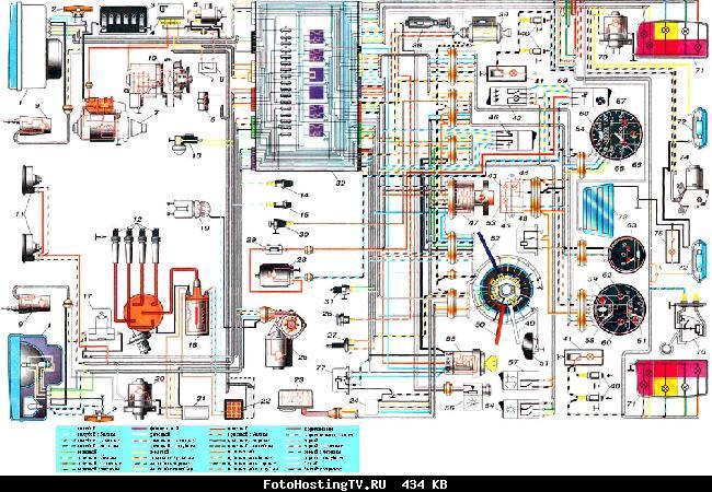 Схема электрооборудования автомобиля ВАЗ 2104