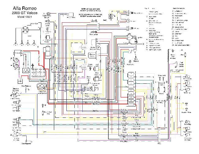 Электрическая схема автомобиля Alfa Romeo 2000 GT Veloce