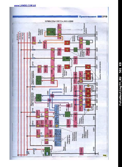 Кликните на картинку, чтобы увидеть полноразмерную версию.  Скачать Цветные электросхемы Lanos 1...