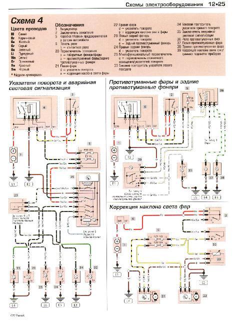 Скачать Схемы электрооборудования VOLKSWAGEN PASSAT 2000-2005 + Схема предохранителей.