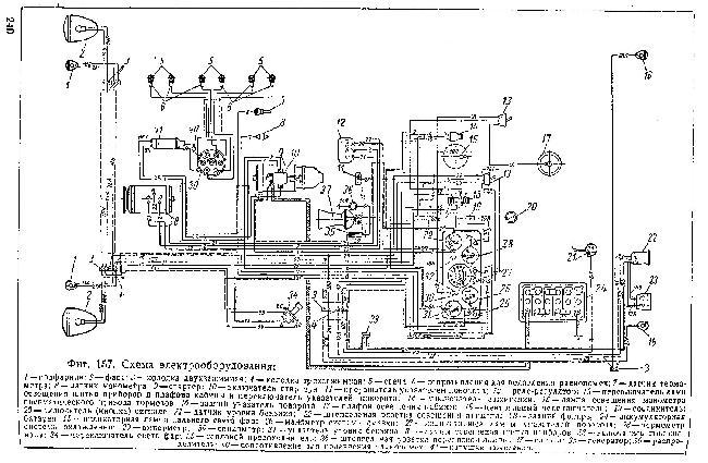 Схема электрооборудования автомобиля ЗИЛ 150