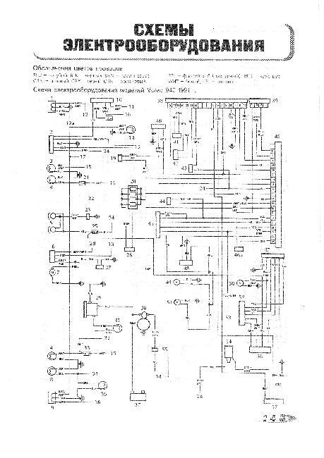 Схемы электрооборудования VOLVO 940 / 960 - 1,9, 2,3, 2,4, 2,9 л.