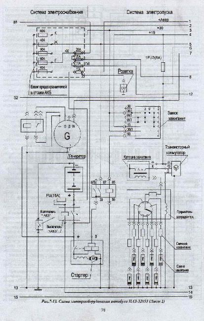 Цветная схема электропроводки паз 32054