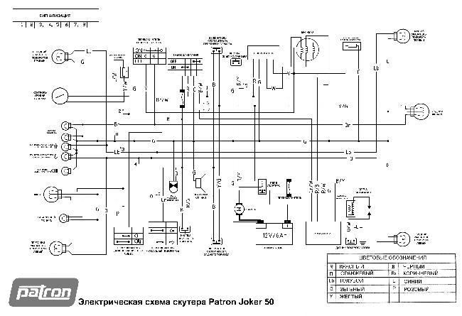 Электросхема скутера Patron Joker 50
