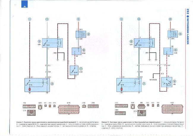 Цветные схемы электрооборудования автомобиля  MITSUBISHI LANCER X с 2007