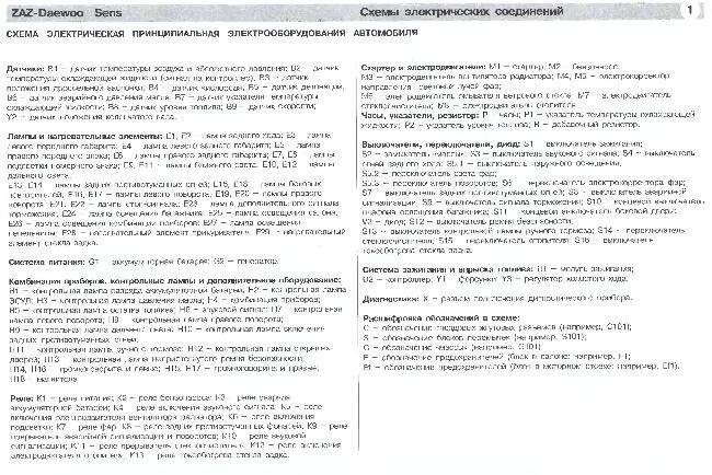 Принципиальные электрические схемы  ЗАЗ, Дэу - Sens с 2002г., бензин 1,3 л