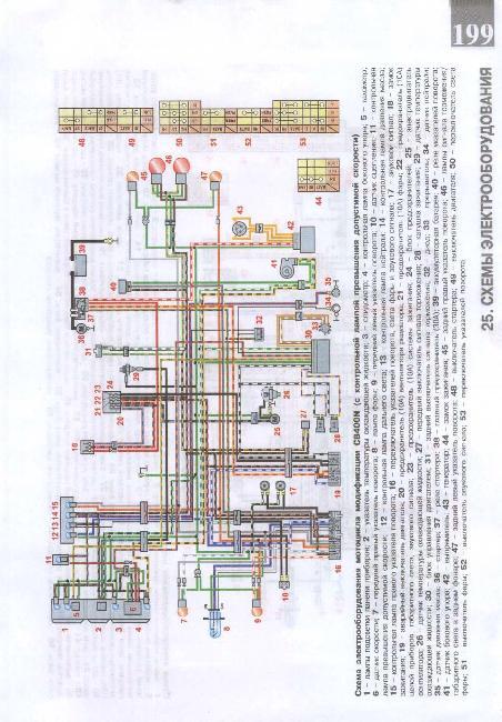 Схема электрооборудования мотоцикла Honda CB400N (с контрольной лампой превышения допустимой скорости)