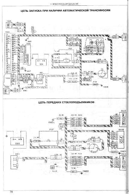 Принципиальные электрические схемы Peugeot 605 Дизель