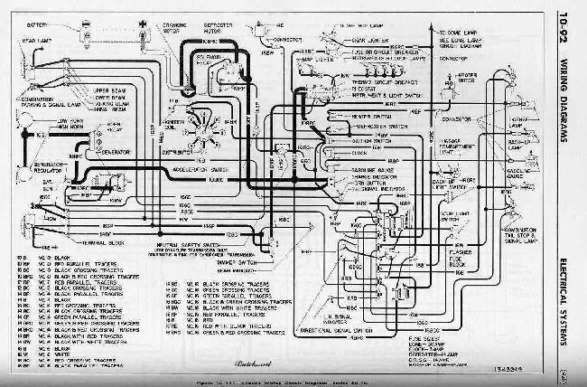 Схема электрооборудования Buick Roadmaster (1952) 50 и 70 серии