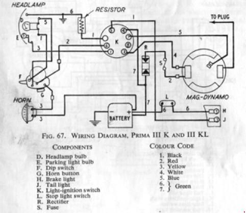 Схема электрооборудования NSU Prima III K и III KL