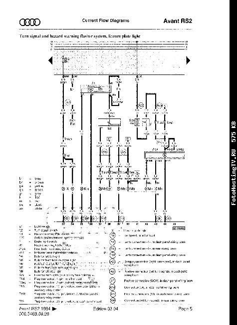 Схемы электрооборудования Audi RS2 с 1994г.