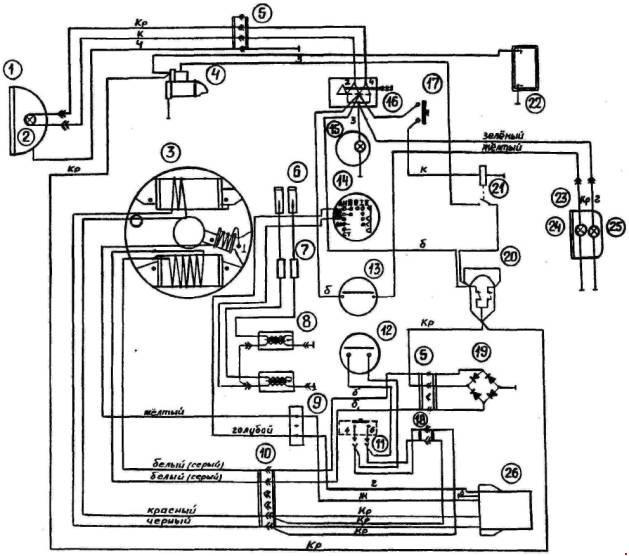 Схема электрооборудования снегохода БУРАН  (с электропуском)(С-640А1Ц, С-640А1И, С-640А1В, С-640А1Г, С-640А1ИП, С-640/3700, С-640М, С-640МД)