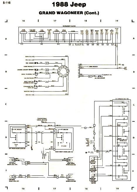 Схемы электрооборудования Jeep Grand Wagoneer 1988
