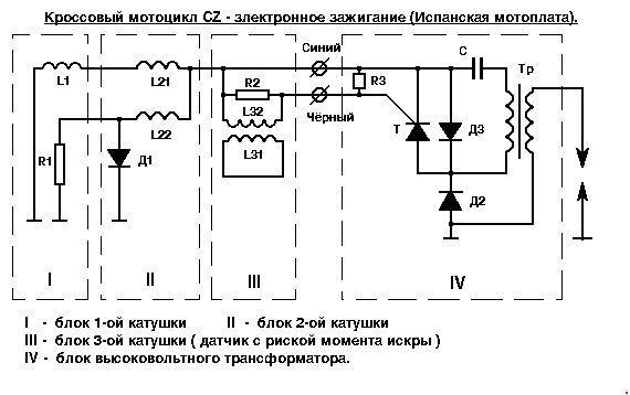 Схема электронного зажигания мотоцикла CZ