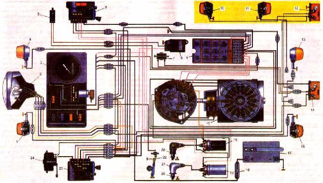 схема подключения передних фар на ваз 2123