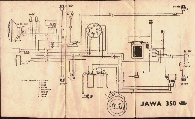 Схема электрооборудования мотоцикла Ява 350