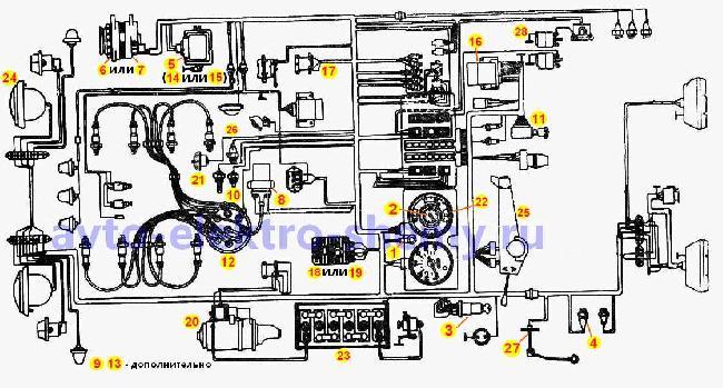 Монтажная схема электрооборудования ЗИЛ-130 (431410)